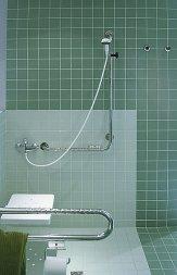 Łazienka, natrysk, poręcz dla niepełnosprawnych